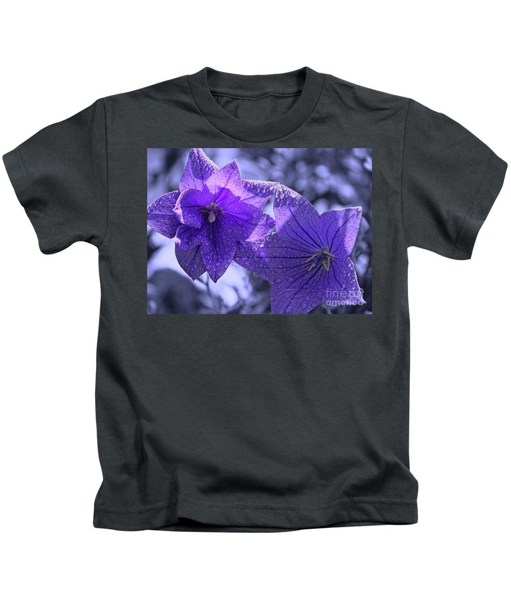 Purple Balloon Flowers Kids T-Shirt featuring the photograph Spring Hope by Cathy Beharriell