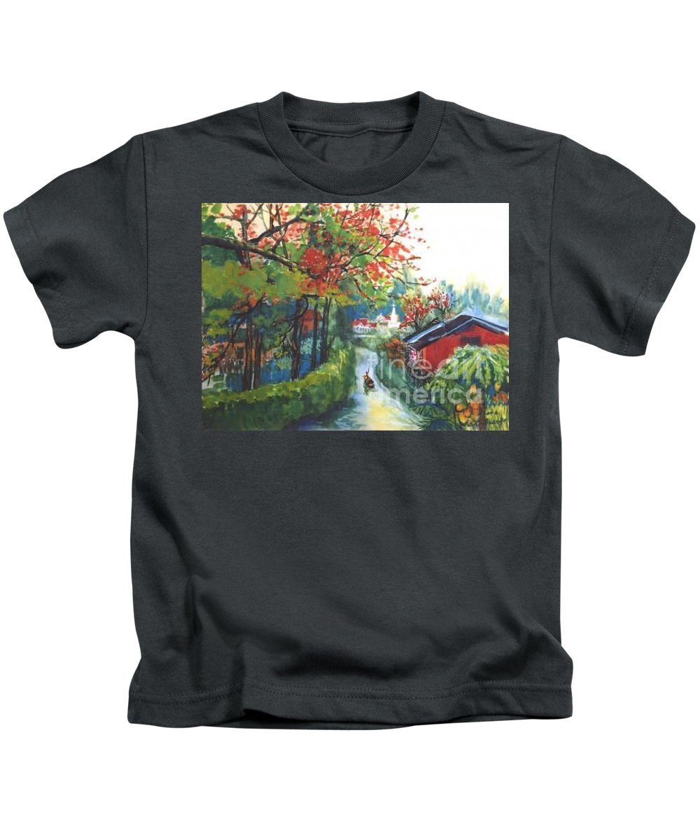 Spring Kids T-Shirt featuring the painting Spring In Southern China by Guanyu Shi