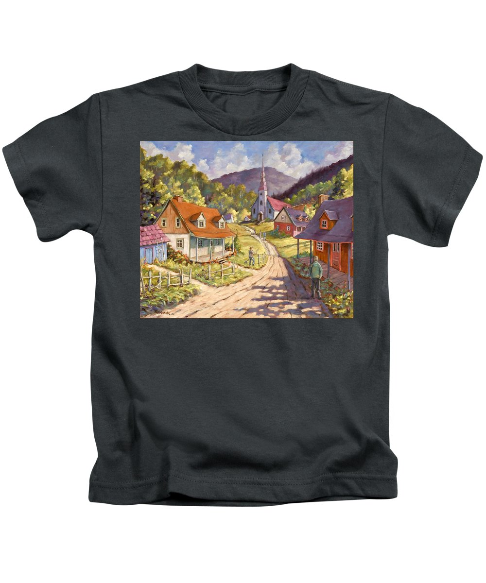 Art Kids T-Shirt featuring the painting Spring Time Sun by Richard T Pranke