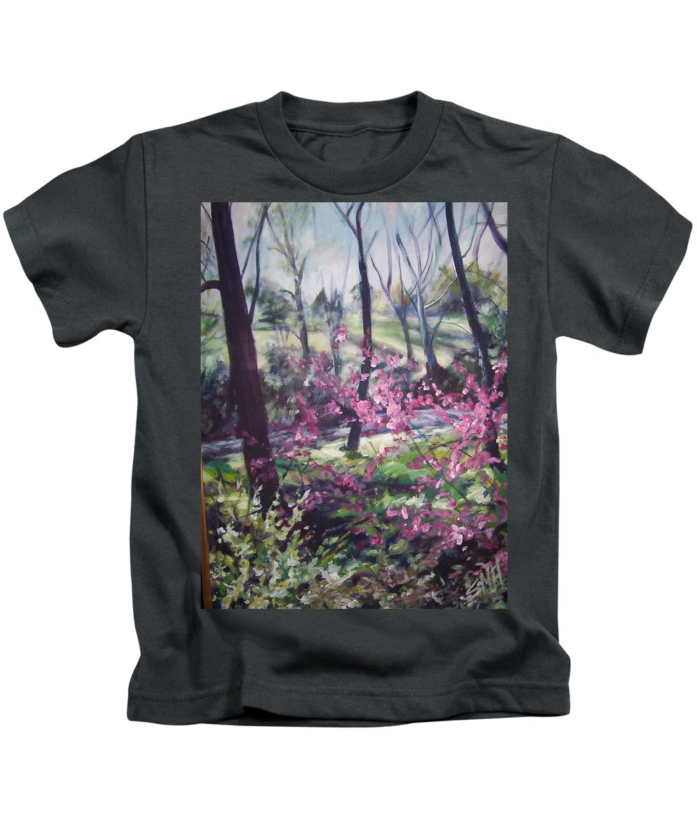 Landscape Kids T-Shirt featuring the painting Spring's Passion 2 by Sheila Holland