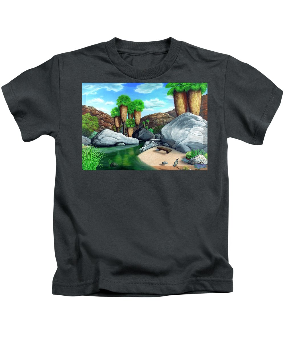 Landscape Kids T-Shirt featuring the painting Springtime In The Canyons by Snake Jagger