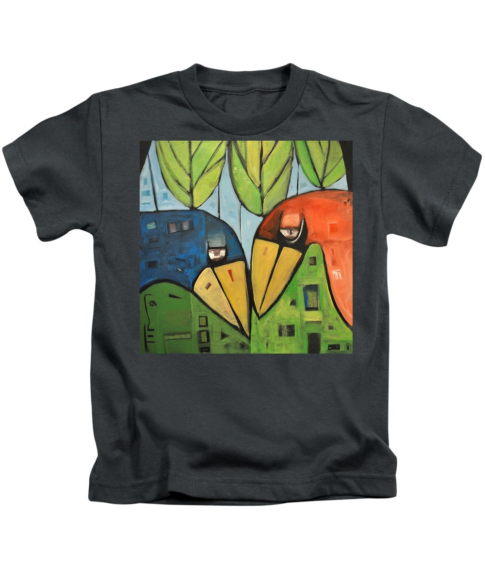 Birds Kids T-Shirt featuring the painting Springtime Lovebirds by Tim Nyberg