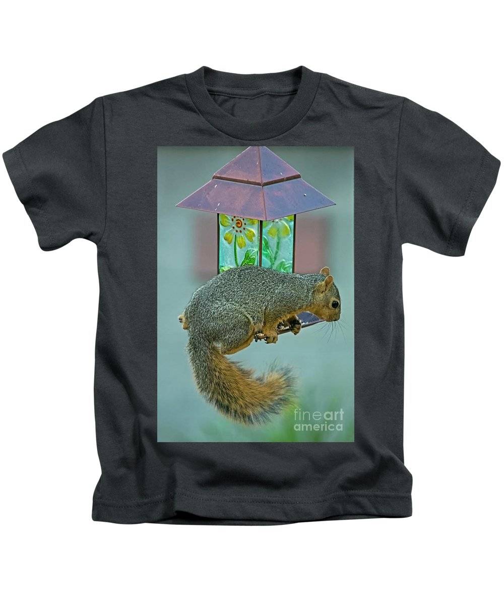 Squirrel Kids T-Shirt featuring the photograph Squirrel At The Bird Feeder by Edita De Lima