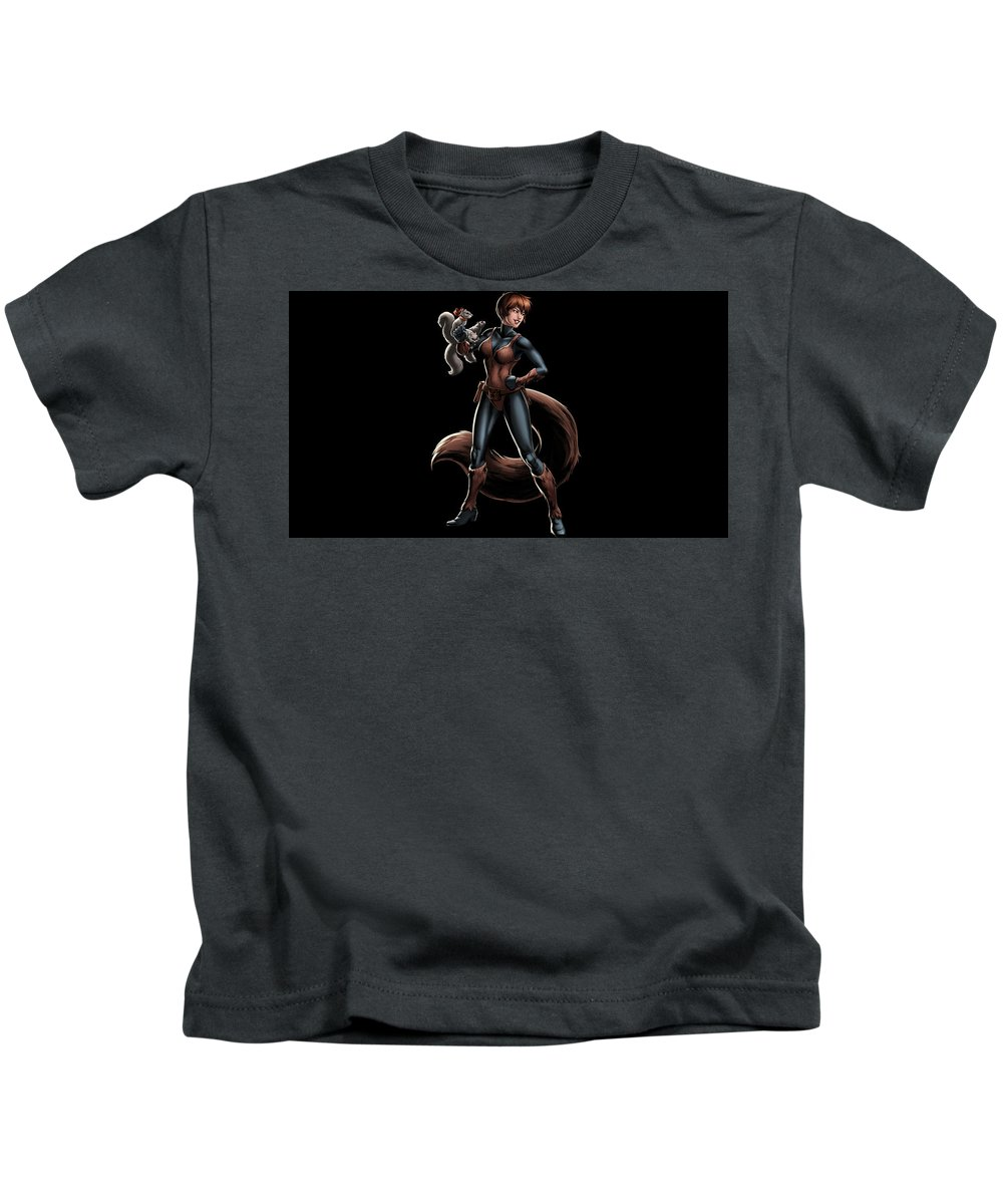 Squirrel Girl Kids T-Shirt featuring the digital art Squirrel Girl by Dorothy Binder