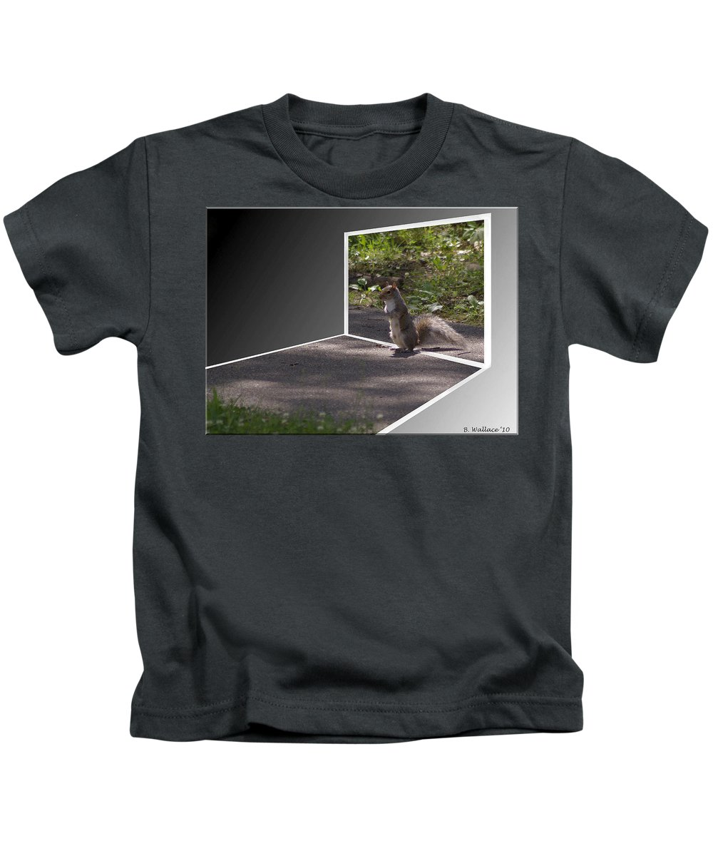 2d Kids T-Shirt featuring the photograph Squirrel World by Brian Wallace