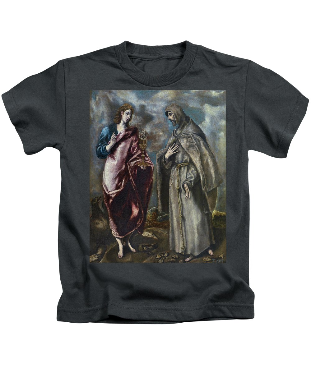 Apostle Kids T-Shirt featuring the painting St. John The Evangelist And St. Francis Of Assisi by El Greco
