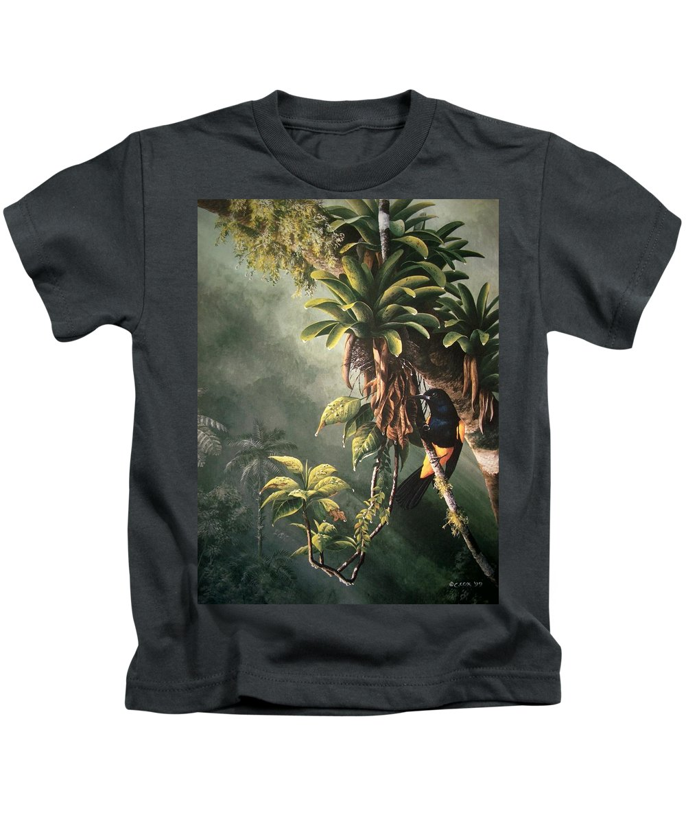 Chris Cox Kids T-Shirt featuring the painting St. Lucia Oriole In Bromeliads by Christopher Cox