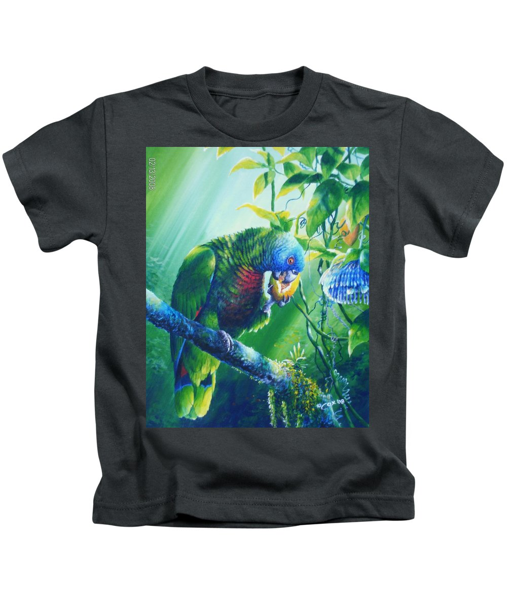 Chris Cox Kids T-Shirt featuring the painting St. Lucia Parrot And Wild Passionfruit by Christopher Cox