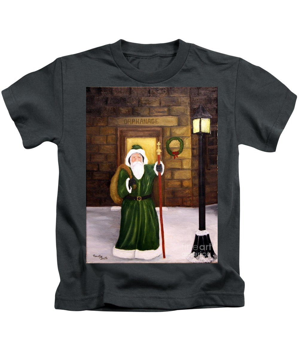 St. Nick Kids T-Shirt featuring the painting St. Nicholas by Timothy Smith