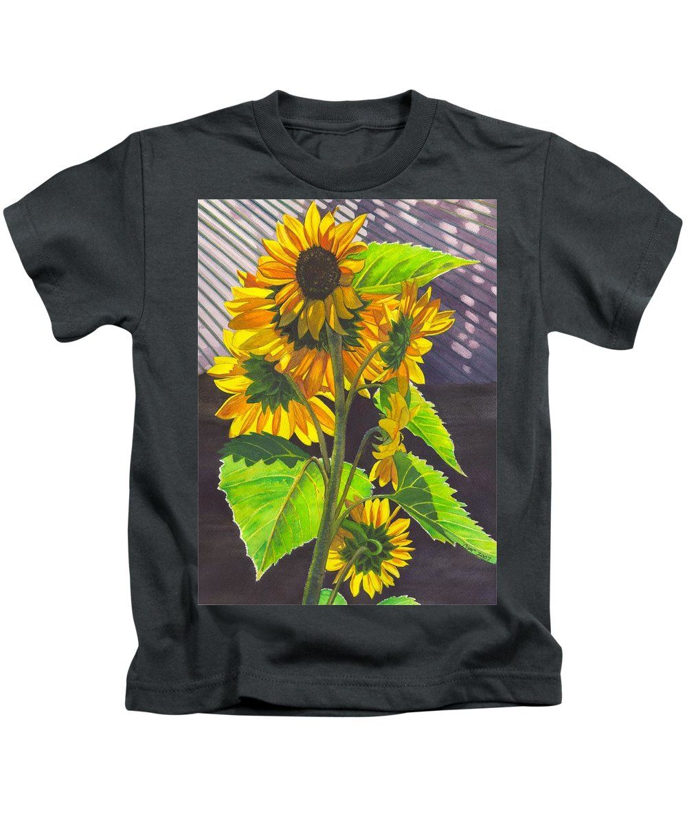 Sunflowers Kids T-Shirt featuring the painting Stalk Of Sunflowers by Catherine G McElroy