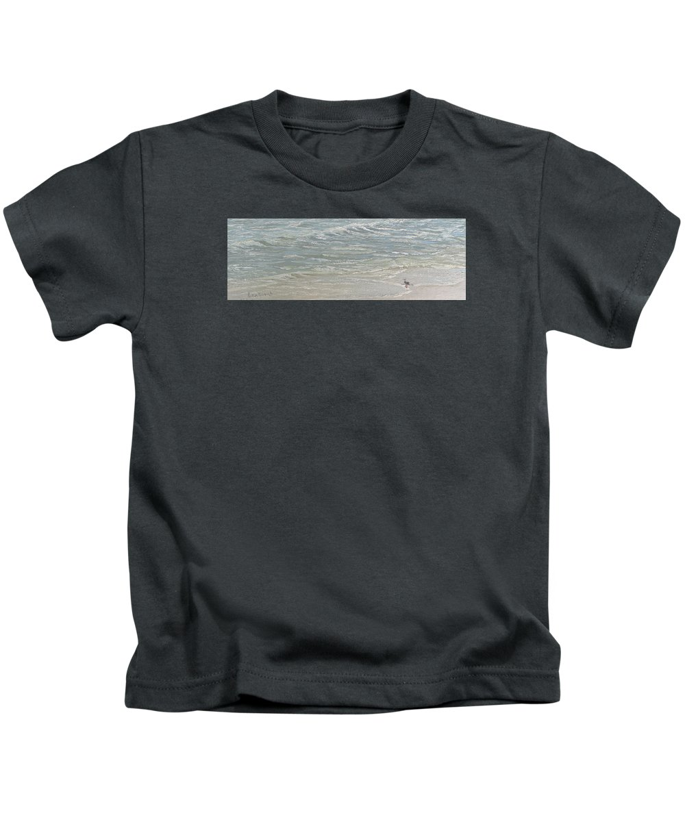 Seascape Kids T-Shirt featuring the painting Standing by the Ocean Door by Lea Novak
