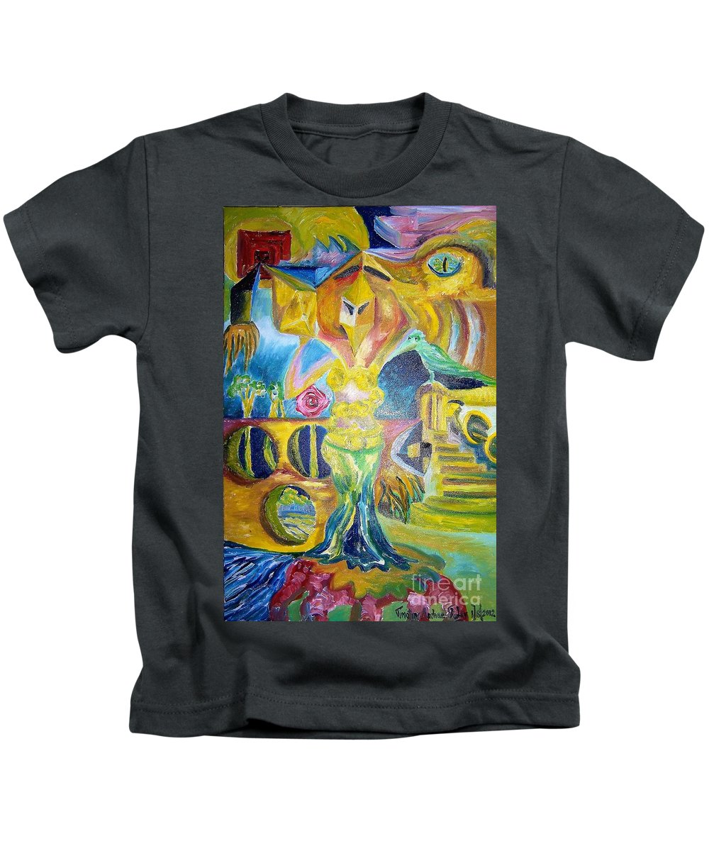 Abstract Kids T-Shirt featuring the painting Standing In The Front by Timothy Michael Foley