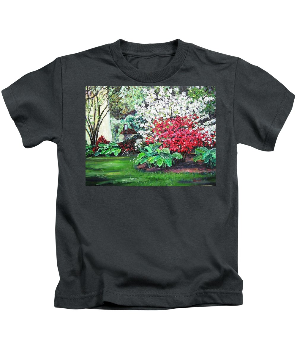 Blossoms Kids T-Shirt featuring the painting Stanely Park Blossoms by Richard Nowak