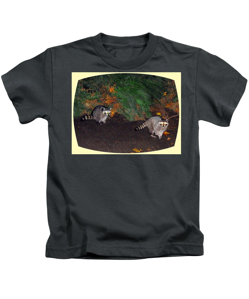 Raccoons Kids T-Shirt featuring the photograph Stanley Park Rascals by Will Borden