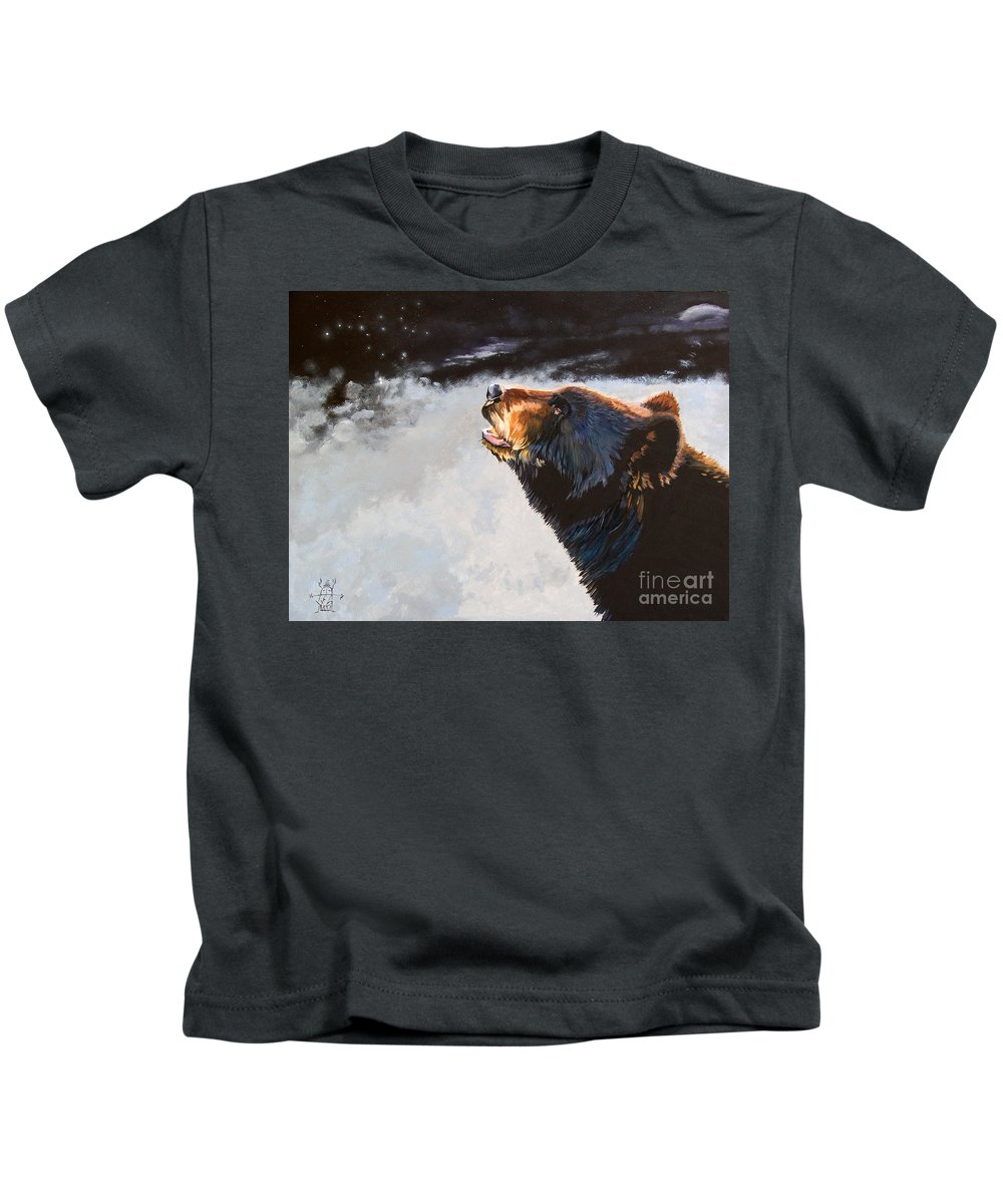 Bear Kids T-Shirt featuring the painting Star Gazer by J W Baker