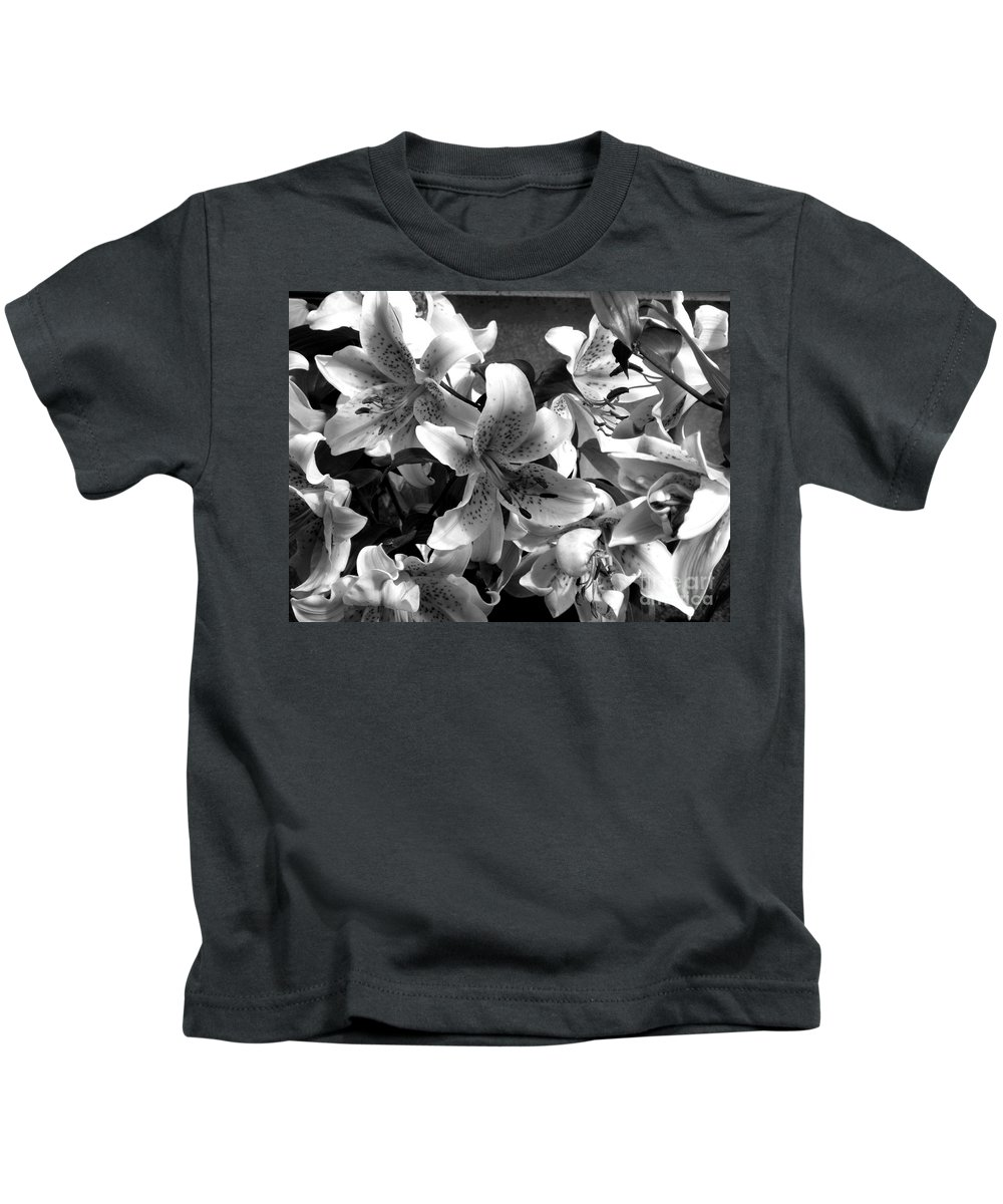 Black And White Photography Kids T-Shirt featuring the photograph Stargazer Lilies Bw by Barbara Griffin