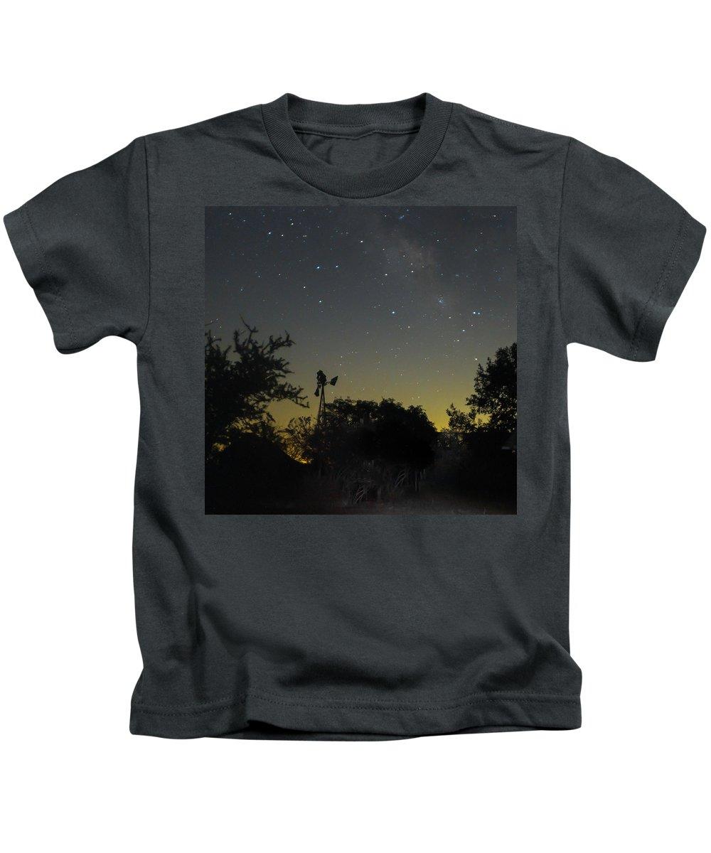 Windmill Kids T-Shirt featuring the photograph Starry Windmill by Cheryl Beck