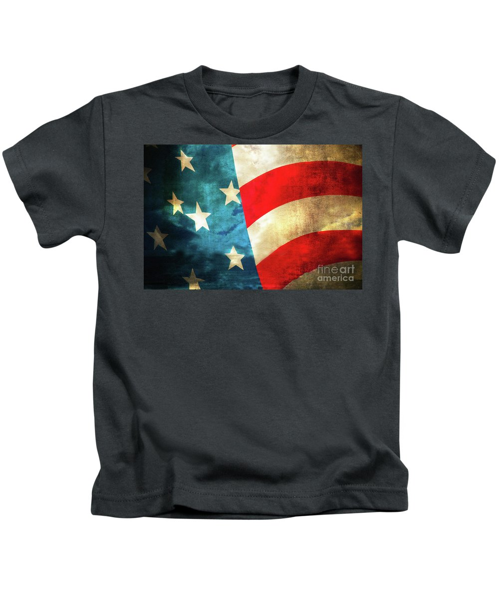Flag Kids T-Shirt featuring the photograph Stars And Stripes Curved by Michael Ziegler