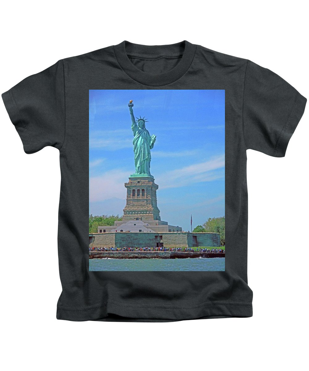 New York City Kids T-Shirt featuring the photograph Statue Of Liberty 21 by Ron Kandt