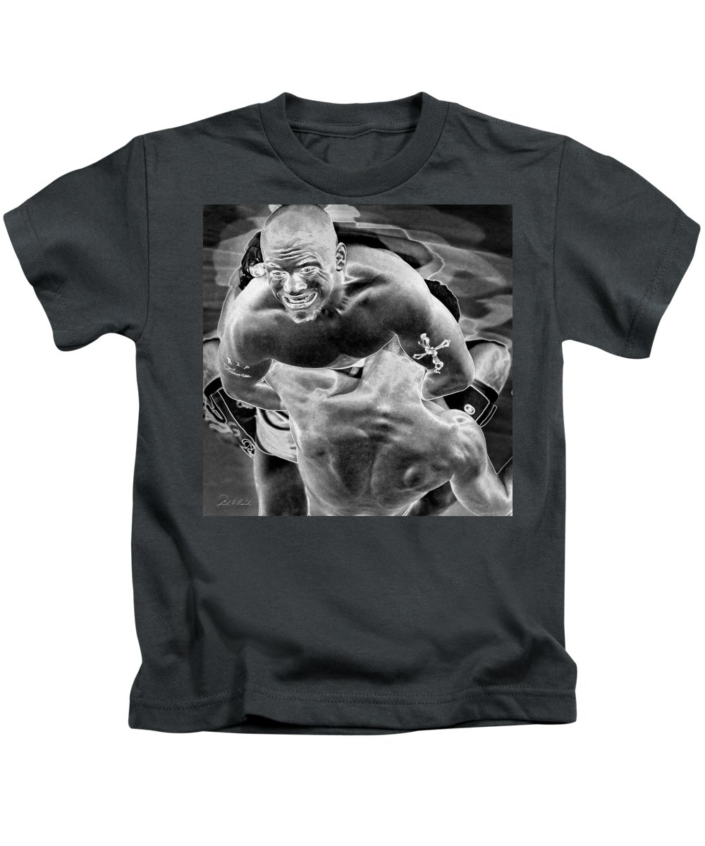 Black & White Kids T-Shirt featuring the photograph Steel Men Fighting 2 by Frederic A Reinecke