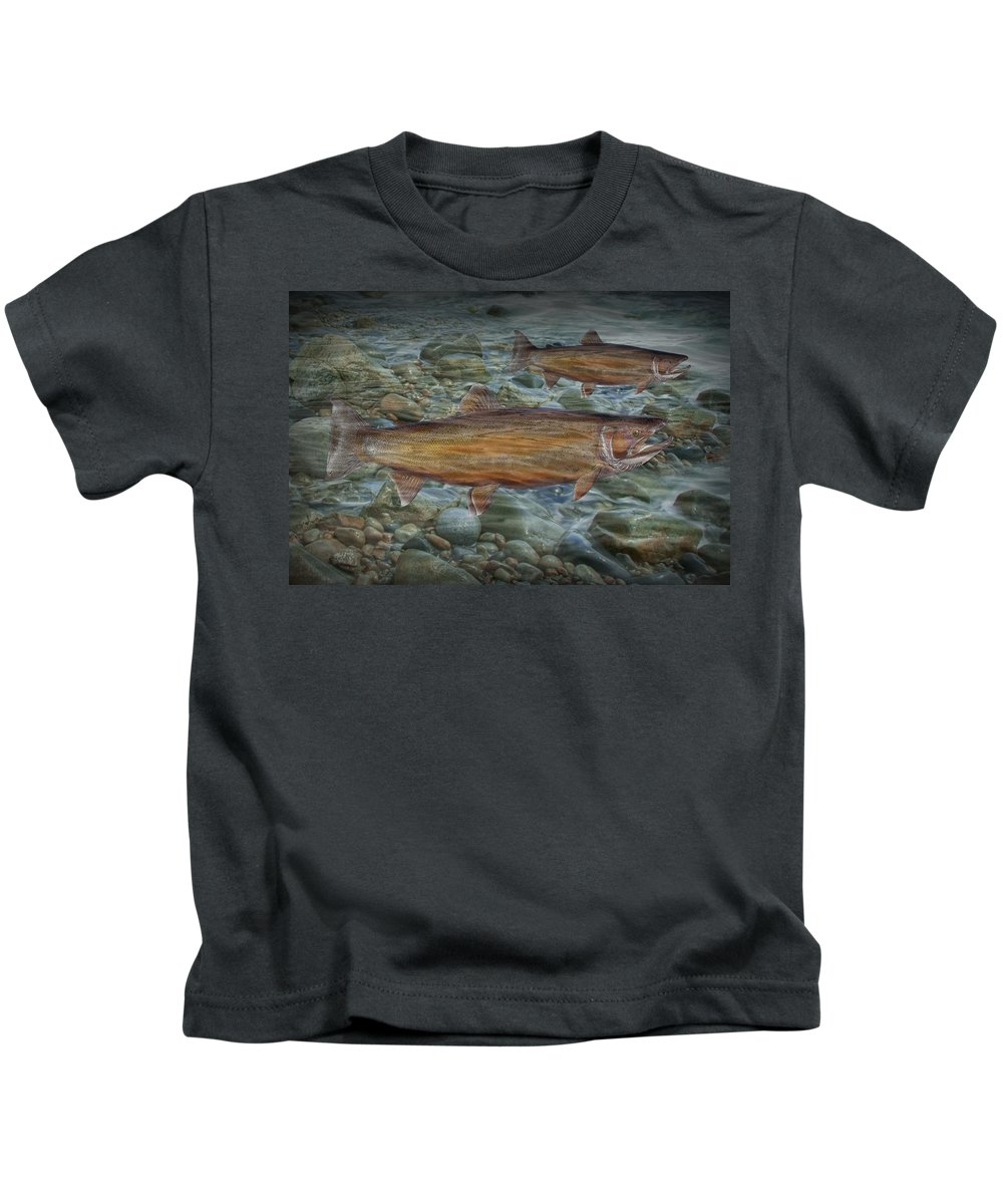 Art Kids T-Shirt featuring the photograph Steelhead Trout Fall Migration by Randall Nyhof