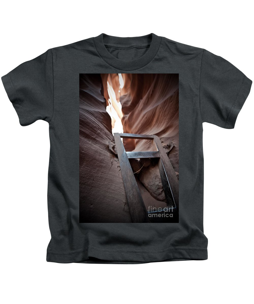 Slot Canyon Kids T-Shirt featuring the photograph Steps In A Slot by Scott Sawyer