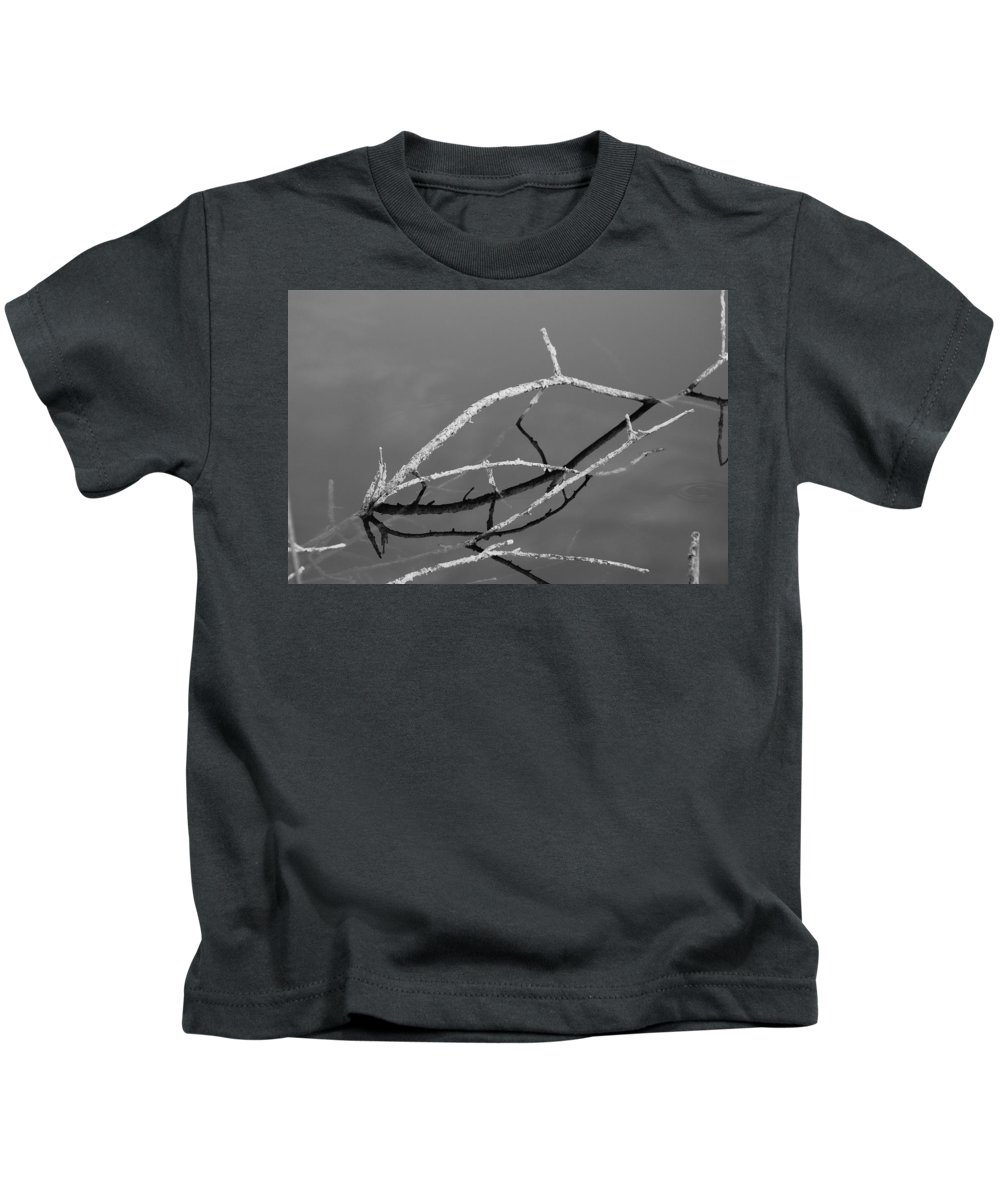 Black And White Kids T-Shirt featuring the photograph Stick Bridges by Rob Hans