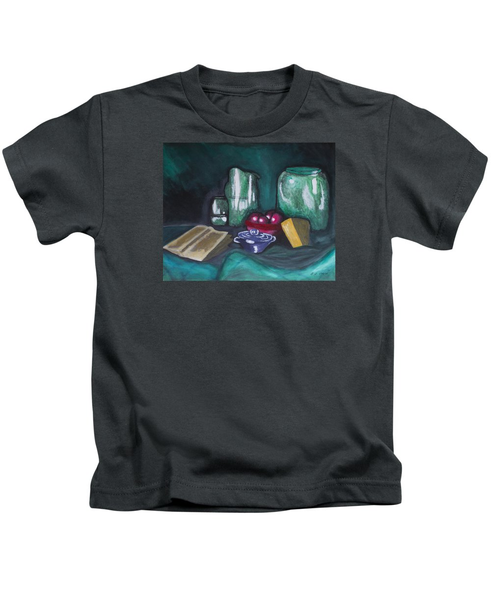 Still Life Cheese Apple Bowl Fruit Book Green Red Blue Orange Brown Pitcher Jar Cloth Traditional Plum Water Reflect Reflection Kids T-Shirt featuring the painting Still Life Green by Christopher Sprinkle