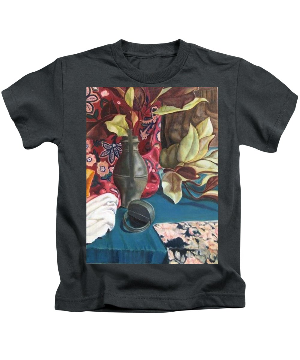 Still-life Kids T-Shirt featuring the painting Still-life With Magnolia Leaves by Piety Choi