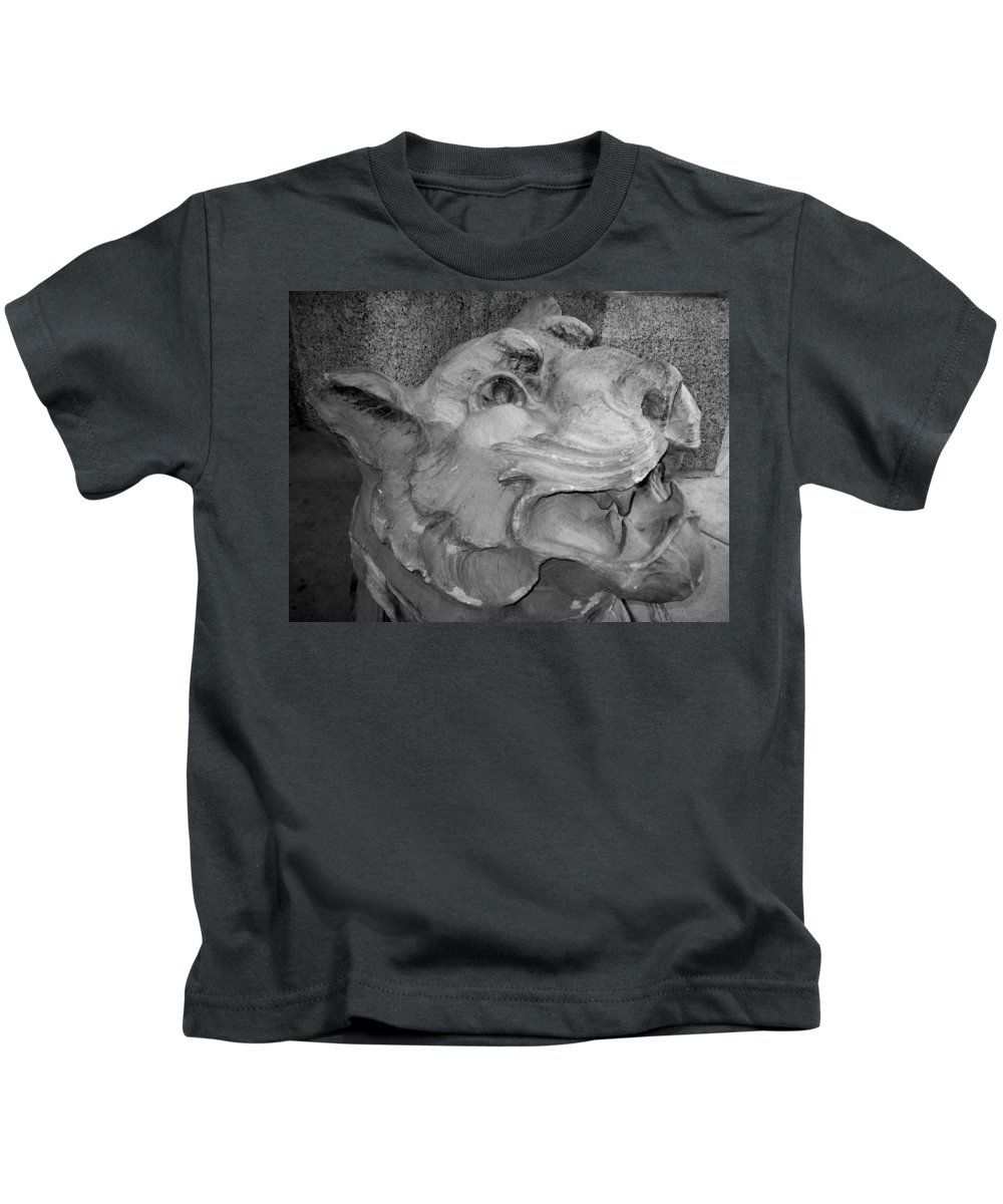 Sculpture Kids T-Shirt featuring the photograph Stone Lion by Anita Burgermeister