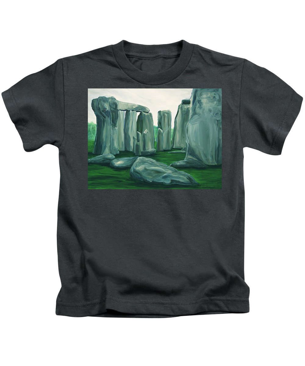 Stonehenge Kids T-Shirt featuring the painting Stonehenge In Spring by Jennifer Christenson