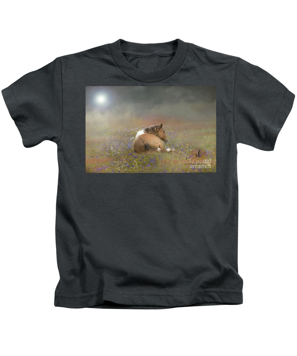 Rrea Brown Photography Kids T-Shirt featuring the photograph Stopping To Smell The Flowers by Rrea Brown