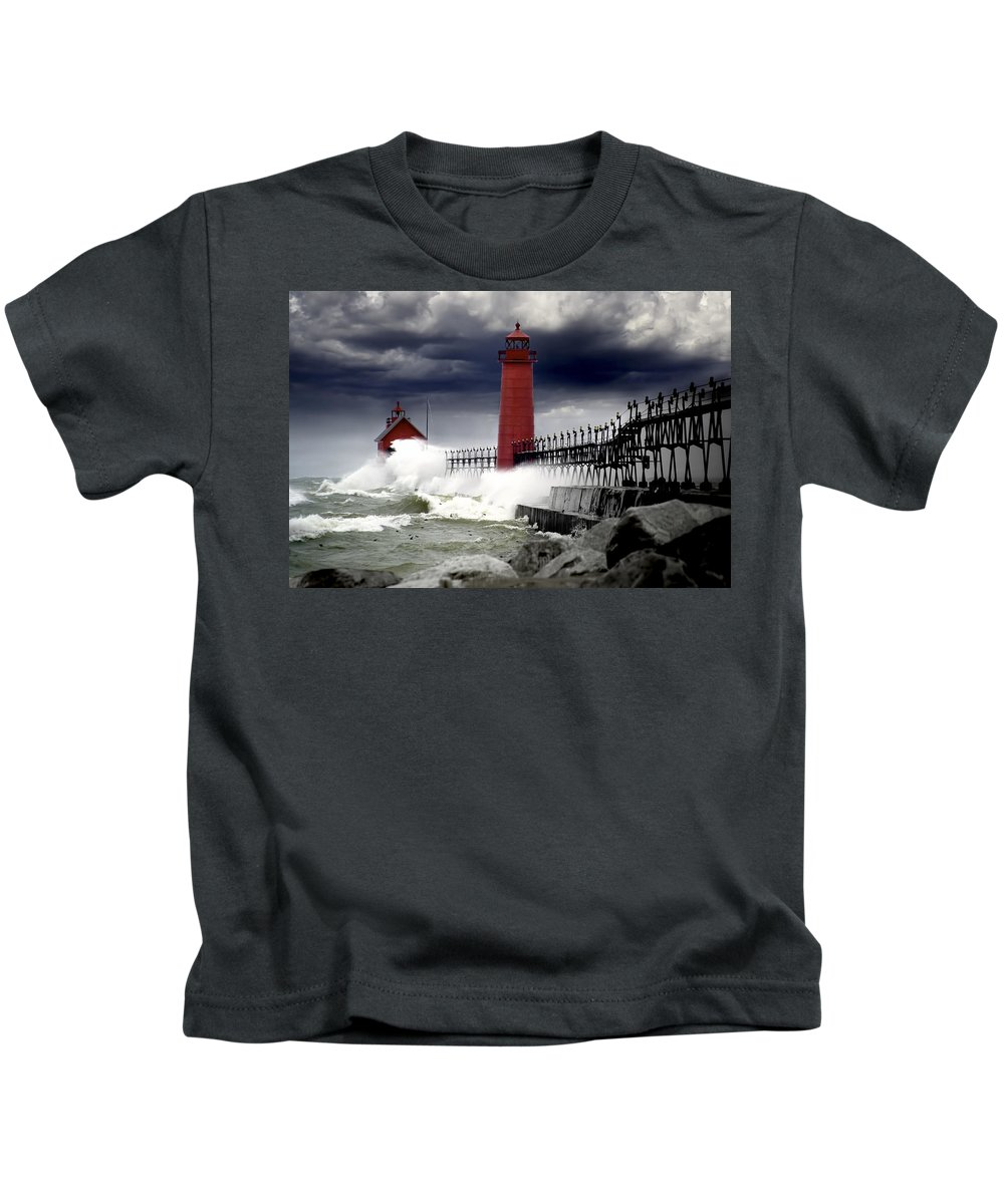 Art Kids T-Shirt featuring the photograph Storm At The Grand Haven Lighthouse by Randall Nyhof