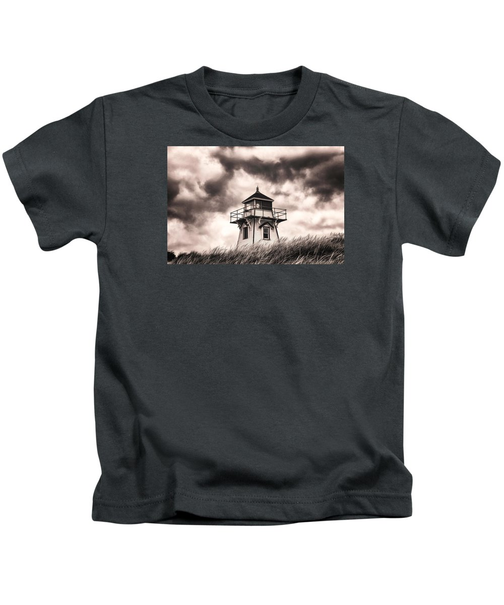 Lighthouse Kids T-Shirt featuring the photograph Stormy Day by Claudia Daniels