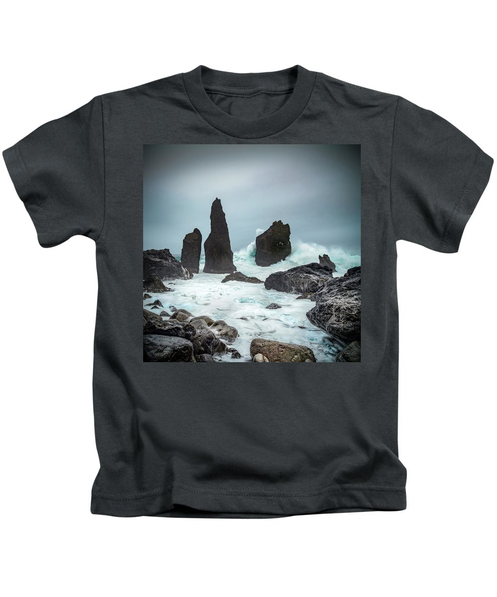 Fulmar Kids T-Shirt featuring the photograph Stormy Iclandic Seas by Andy Astbury