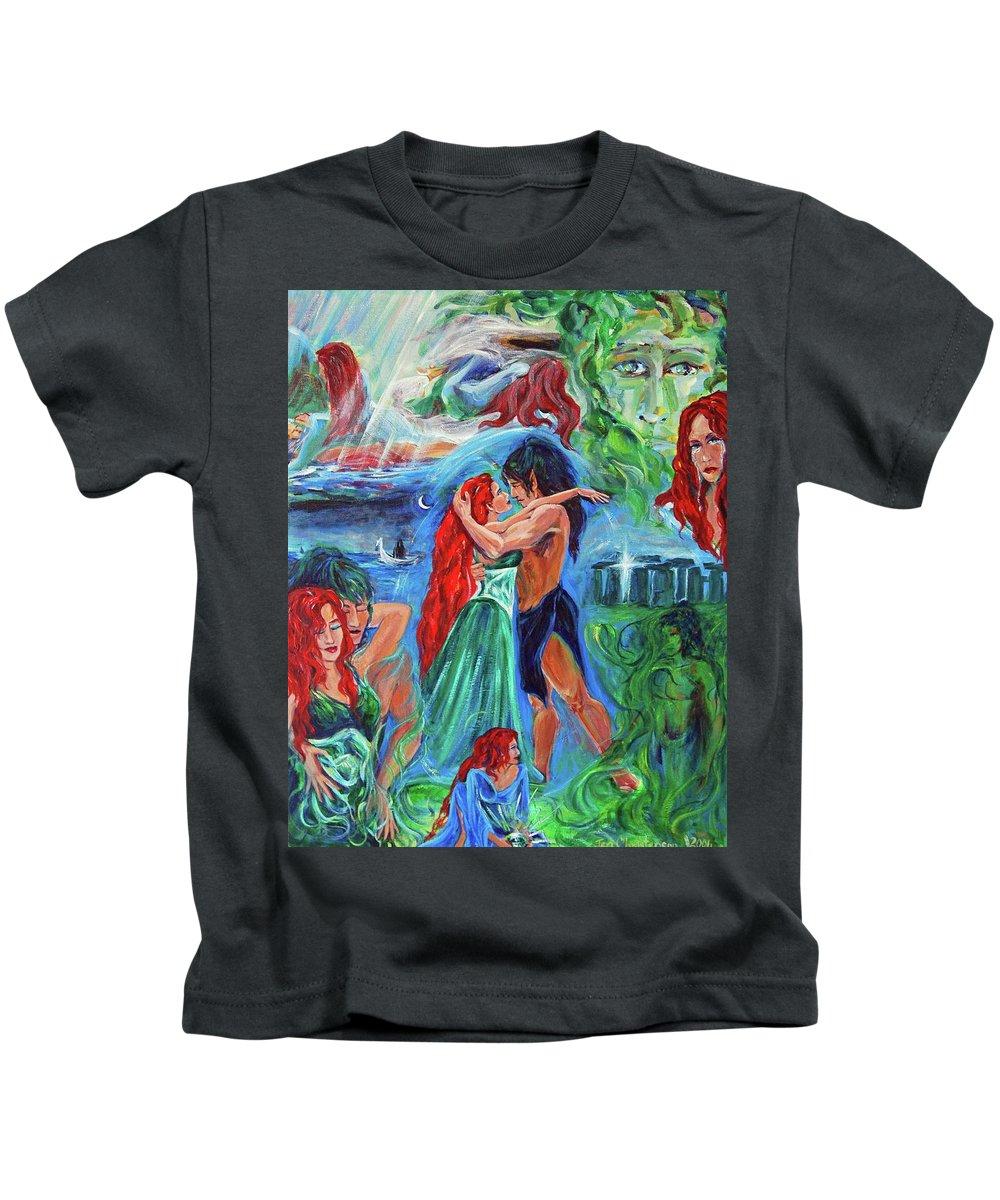 The Aquarian Vaehema Told In Vignettes Kids T-Shirt featuring the painting Story Of Vaehema by Jennifer Christenson