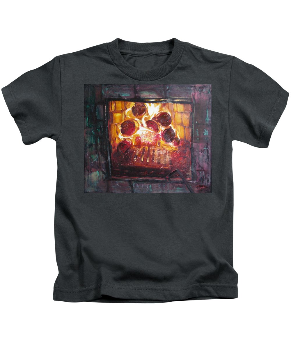 Oil Kids T-Shirt featuring the painting Stove by Sergey Ignatenko