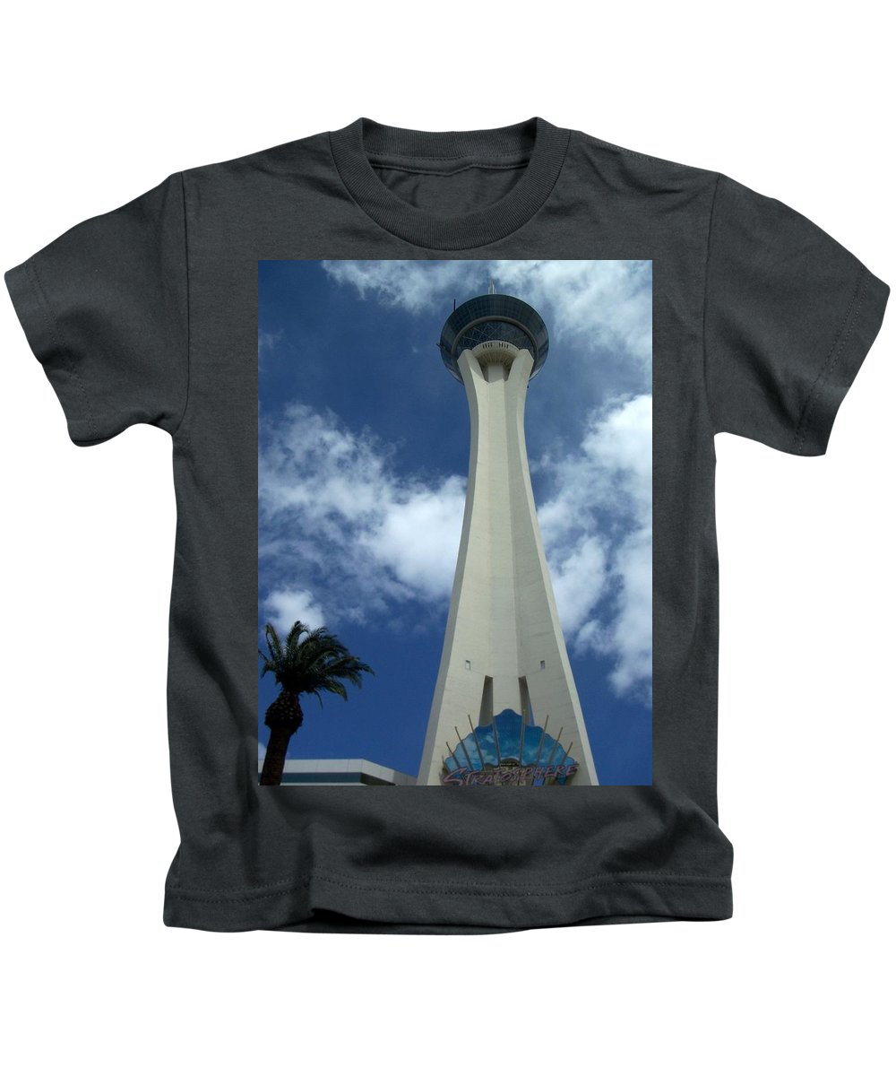Stratosphere Tower Kids T-Shirt featuring the photograph Stratosphere Tower by Anita Burgermeister