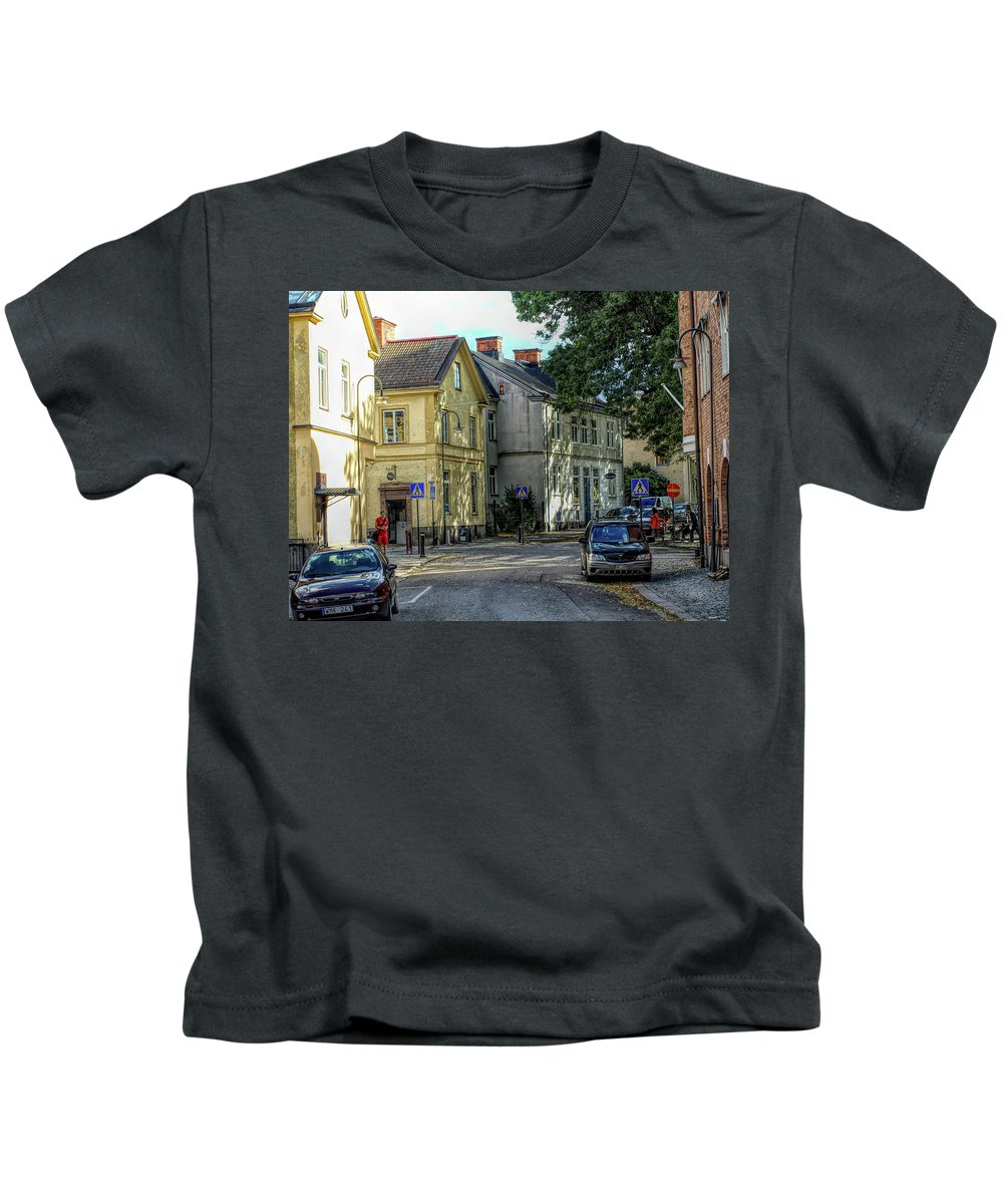 Kids T-Shirt featuring the photograph Street Scene In Strangnas by Barry King