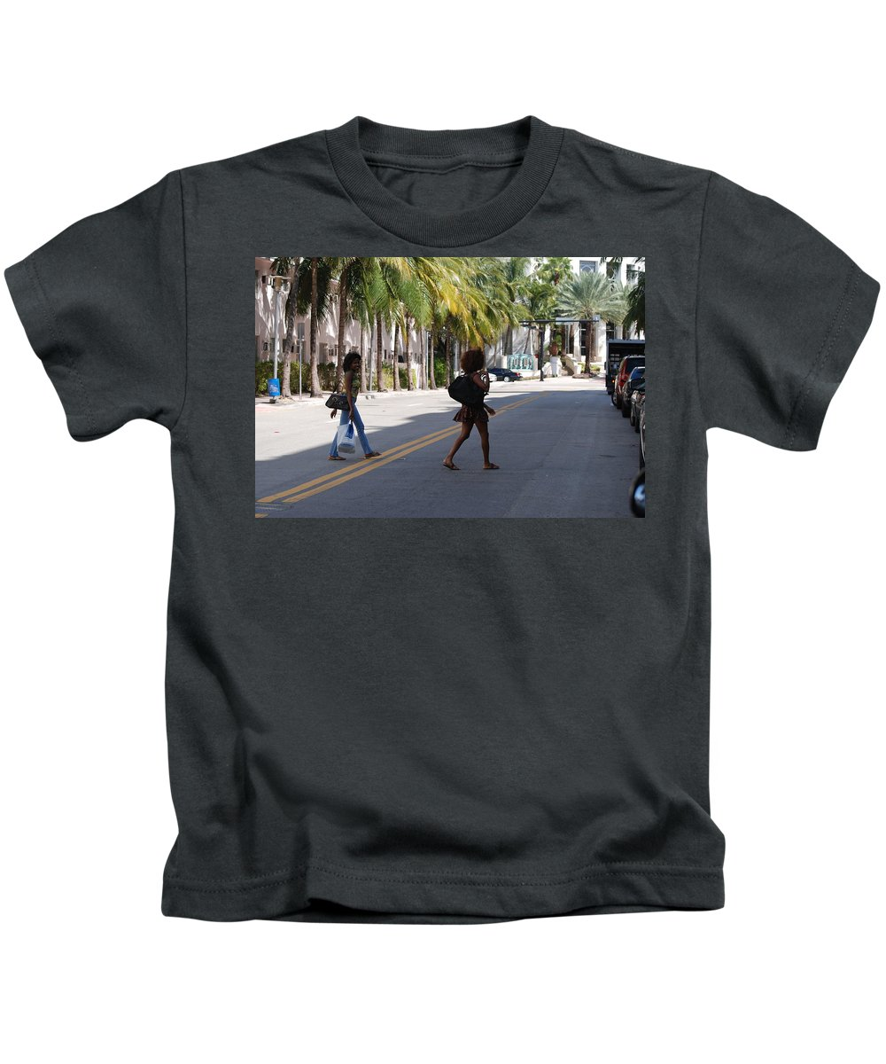 Girls Kids T-Shirt featuring the photograph Street Walkers by Rob Hans
