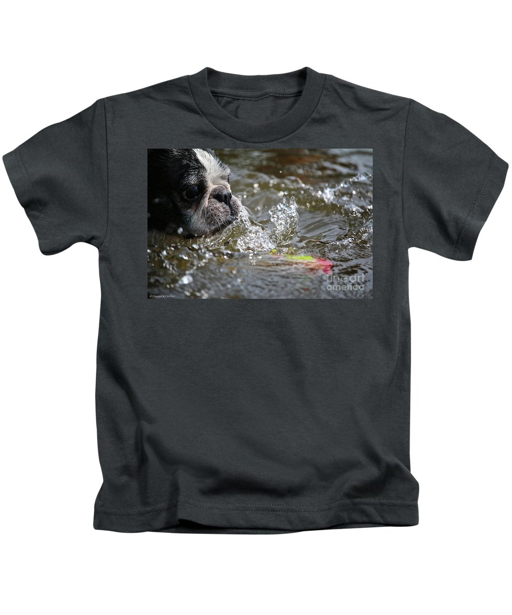 Boston Terrier Kids T-Shirt featuring the photograph Striking Distance by Susan Herber
