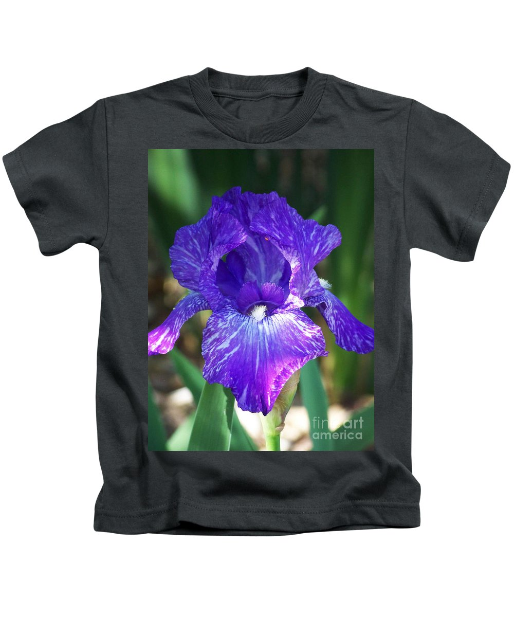 Flowers Kids T-Shirt featuring the photograph Striped Blue Iris by Kathy McClure