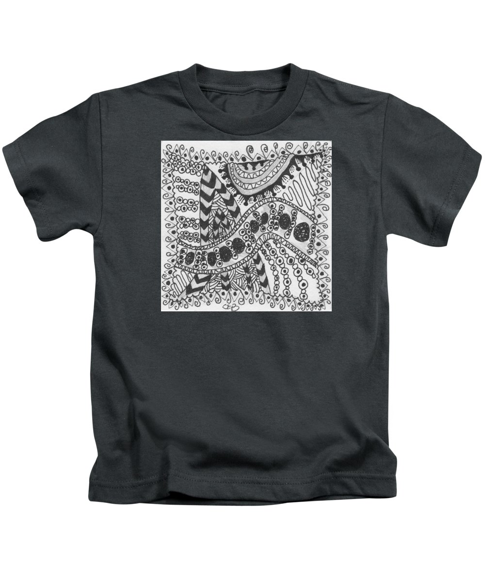 Zentangle Kids T-Shirt featuring the drawing Stripes by Carole Brecht
