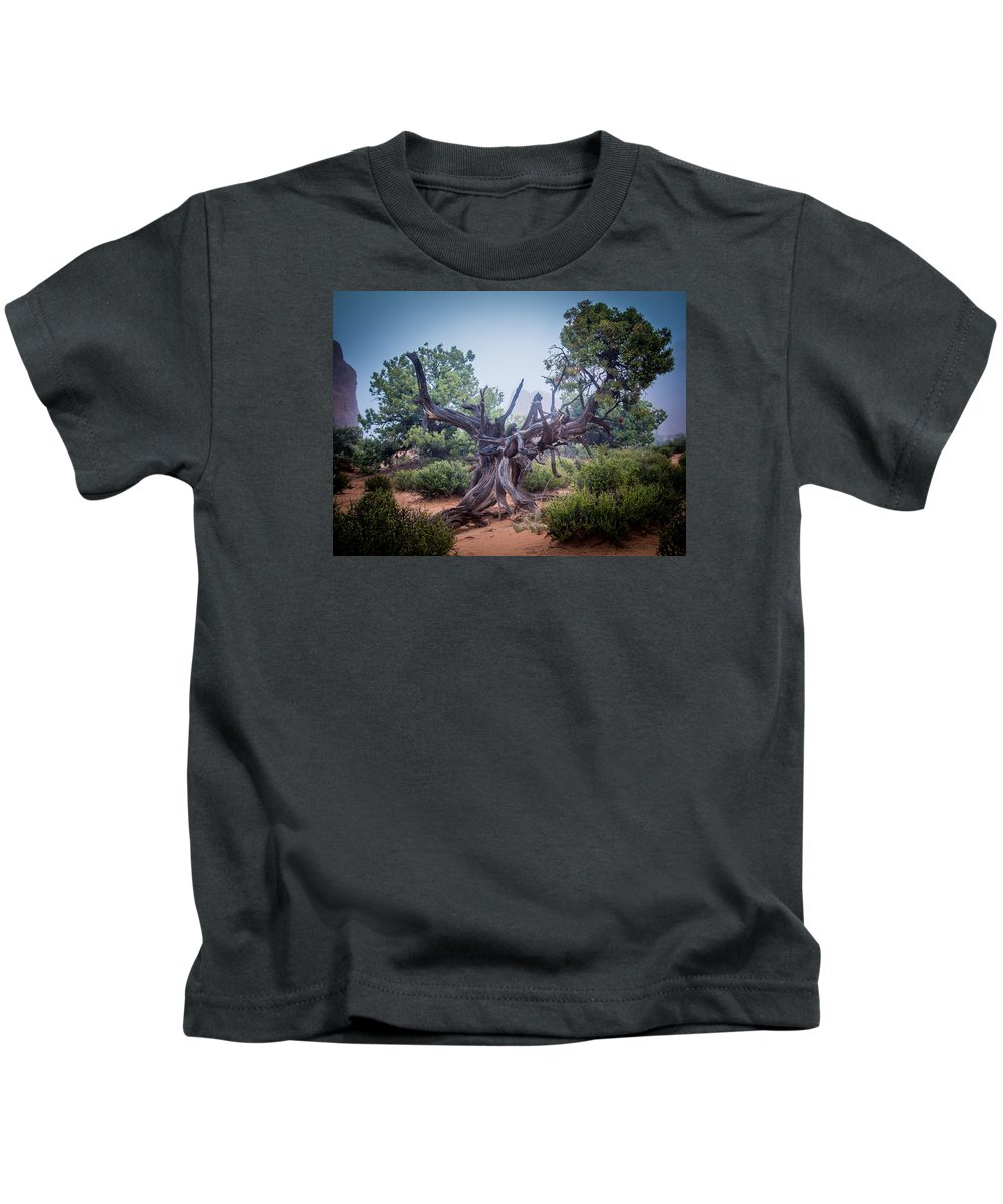 Scenery Kids T-Shirt featuring the photograph Stump In The Fog by John Kulberg