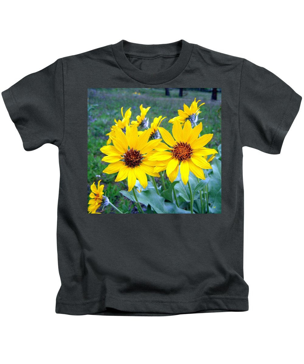 Sunflowers Kids T-Shirt featuring the photograph Stunning Wild Sunflowers by Will Borden