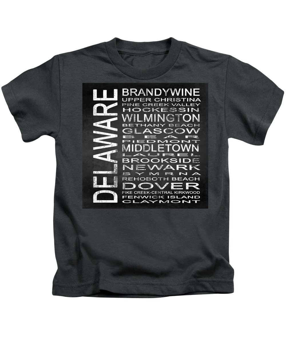 Subway Sign Kids T-Shirt featuring the digital art Subway Delaware State Square by Melissa Smith