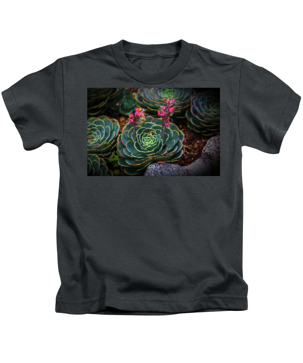 Cactus Kids T-Shirt featuring the painting Succulent Flowers by Mike Penney