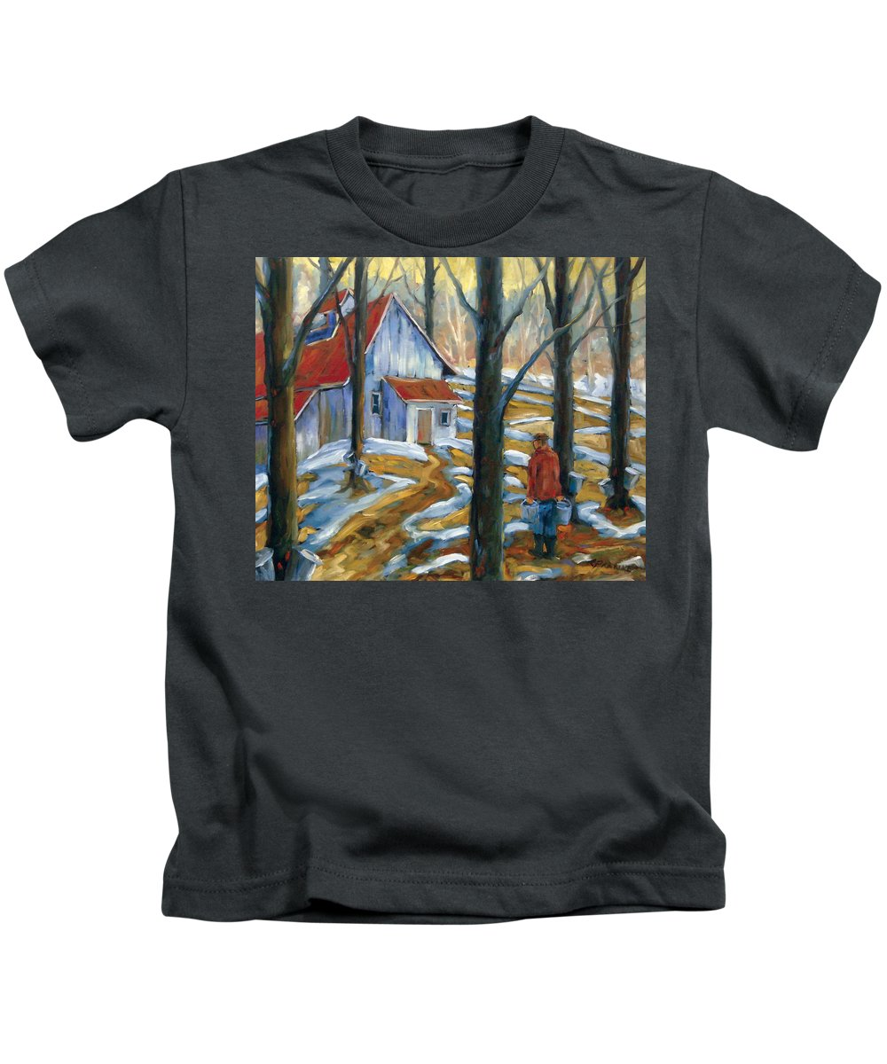 Suga Kids T-Shirt featuring the painting Sugar Bush by Richard T Pranke