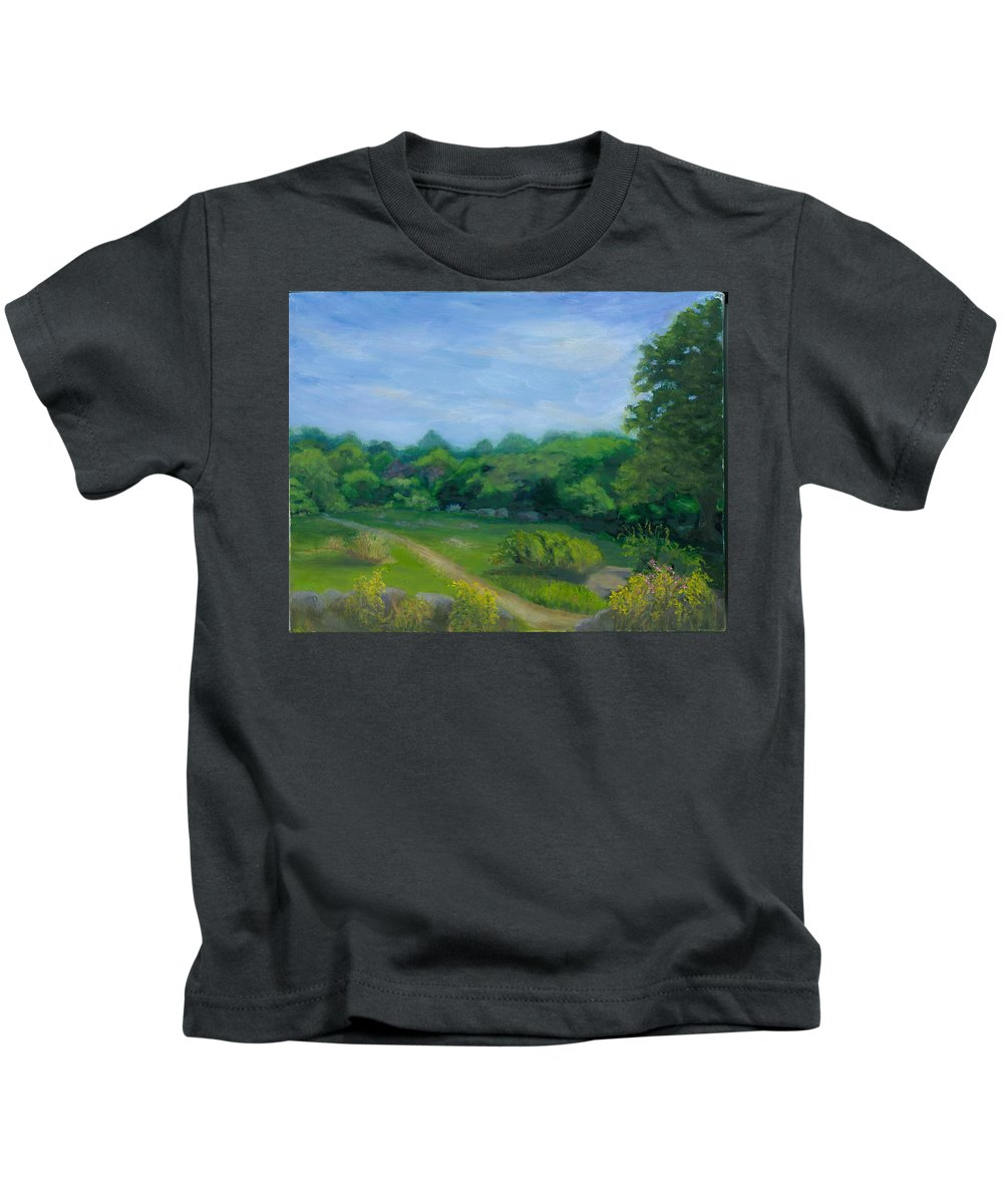 Landscape Kids T-Shirt featuring the painting Summer Afternoon At Ashlawn Farm by Paula Emery