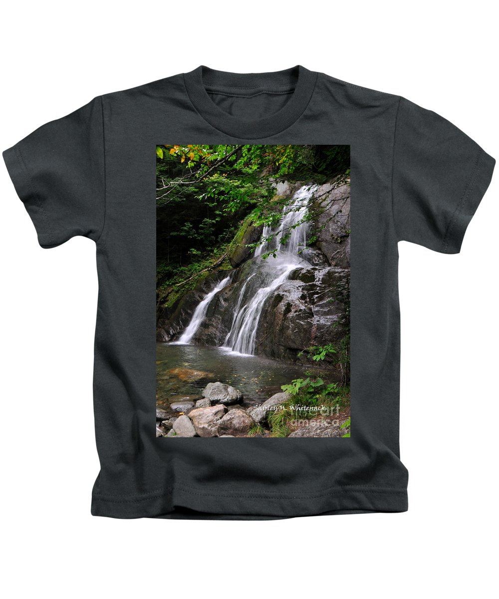 Glen Moss Falls; Waterfall; Summer; Cool; Vermont Kids T-Shirt featuring the photograph Summer At Glen Moss Falls by Shirley Whitenack